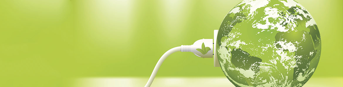 Symbolic power cord plugged into green Earth